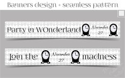 Banners Party in Wonderland - Clocks. Vector Illustration for Graphic Projects, Parties and the Internet Stock Image