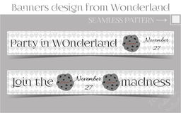 Banners Party in Wonderland - Cookie. Vector Illustration for Graphic Projects, Parties and the Internet Royalty Free Stock Photo