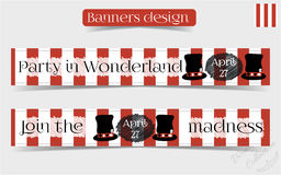 Banners Party in Wonderland - Hatter Hat. Banners Party in Wonderland - Mad Hatter Hat. Vector Illustration for Graphic Projects, Parties and the Internet Stock Photo