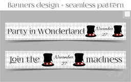 Banners Party in Wonderland - Hatter Hat. Vector Illustration for Graphic Projects, Parties and the Internet Royalty Free Stock Image