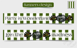 Banners Party in Wonderland - Tree from Forest. Or Garden. Vector Illustration for Graphic Projects, Parties, Web, Scrapbooking Royalty Free Stock Images