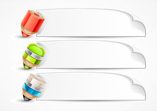 Banners with pencils. White paper banners with pencils on white background Stock Illustration
