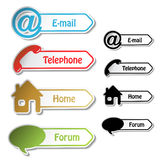 Banners - phone, email, home, forum Royalty Free Stock Photos