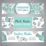 Banners for photo studio or photographer. Hand drawn doodle cartoon retro photo cameras, vector illustration Photo theme. Banners for photo studio or Stock Image