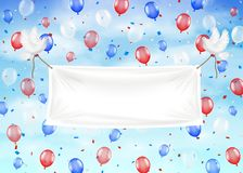 Banners with pigeon and ropes balloons on sky. A banners with pigeon and ropes balloons on sky Stock Image