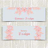 Banners With Pink Flowers Royalty Free Stock Photography
