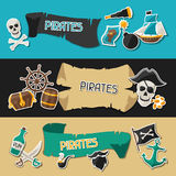 Banners on pirate theme with stickers and objects Stock Photos