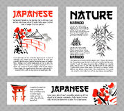 Banners or posters set with asia landscapes, buildings and blossoming sakura branch in traditional japanese sumi-e style Royalty Free Stock Images