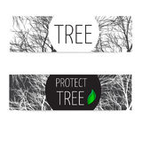 Banners protect tree Royalty Free Stock Photos