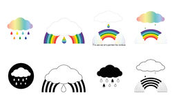 Banners with rainbows, clouds,drops Stock Photo