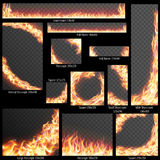 Banners with Realistic fire flames. EPS 10 Royalty Free Stock Images