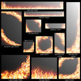 Banners with Realistic fire flames. EPS 10 Royalty Free Stock Photos