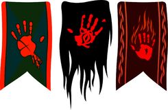 Banners with red palms. Three different banners on white background Royalty Free Stock Photography