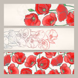 Banners with red poppies Royalty Free Stock Photography