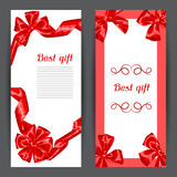 Banners with red satin gift bows and ribbons Royalty Free Stock Images