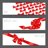 Banners with red satin gift bows and ribbons Stock Photography