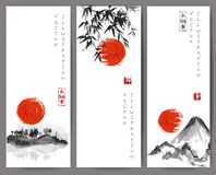 Banners with red sun, bamboo, mountains and island Royalty Free Stock Image