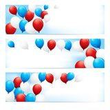 Banners with Red, White & Blue Balloons Stock Photo