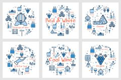Banners - red and white wine, grape and winemaking. Vector six blue square banners in linear style - of red and white wine, grape, viticulture, winemaking and stock illustration