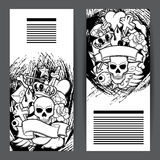 Banners with retro tattoo symbols. Cartoon old school illustration.  Stock Photos