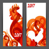 Banners with rooster symbol of 2017 by Chinese calendar.  Stock Image