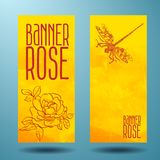 Banners with rose and dragonfly in doodle Stock Photography