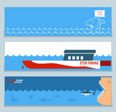 Banners about save sharks and undersea world Stock Images