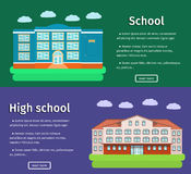 Banners of school buildings. Vector illustration. Horizontal banners of school buildings with text in flat design. Colorful background. Vector illustration Royalty Free Stock Photo