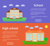 Banners of school buildings. Vector illustration. Royalty Free Stock Images