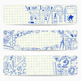 Banners with school and scientific doodles Royalty Free Stock Images