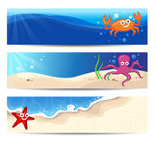 Banners With Sea Creatures. Three Summer Banners With Cute Sea Characters Royalty Free Stock Photo