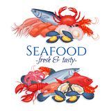 Banners seafood. Page design with mussel, fish salmon, shrimp. Lobster, squid, octopus, scallop, lobster, craps, mollusk or oyster, alfonsino and tuna for Stock Image
