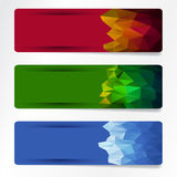 Banners set. Set of colored banner in polygonal shape Stock Image
