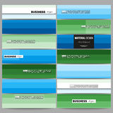 Banners set. Abstract colorful business background, blue and green colors, modern stylish striped vector texture for Stock Photography