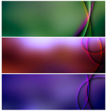 Banners set of abstract metal. Three banners , green, red, and blue with colored lines Royalty Free Stock Photo