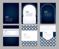 Banners set arabic ornament. Banners set of templates with classic arabic ornament, vector illustration Stock Photo