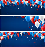 Banners set with balloons and flags. Blue festive banners with balloons and flags. Vector paper illustration Stock Photo