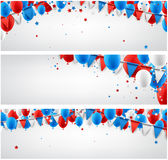 Banners set with balloons and flags. White festive banners with balloons and flags. Vector paper illustration Stock Photo