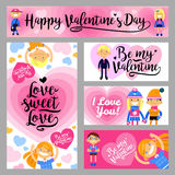 Banners set with boys and girls, hearts, inscriptions of congratulations. Cartoon vector flat-style design elements. Wallpaper, flyers, invitation, posters Royalty Free Illustration