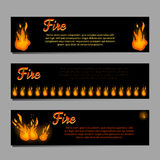 Banners set with bright fire flame Stock Photos