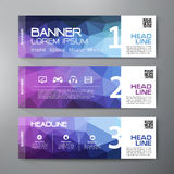 Banners set for business modern design. Polygonal geometric back Royalty Free Stock Photography