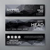 Banners set for business modern design. Polygonal geometric back Royalty Free Stock Images