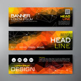 Banners set for business modern design. Polygonal geometric back. Grounds. Vector and illustration Stock Image