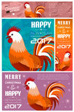 Banners Set with 2017 Chinese New Year Elements. Bokeh. Vector illustration. Vector illustration of Banners Set with 2017 Chinese New Year Elements. Bokeh Stock Photo