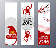 Banners Set with  Chinese New Year Monkeys Vector illustration Stock Images