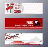 Banners Set with  Chinese New Year Monkeys Vector illustration Royalty Free Stock Photo