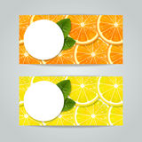 Banners set with citrus fruits Stock Images
