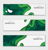 Banners set 3D abstract background, green paper cut shapes. Vector design layout for business presentations, flyers. Horizontal banners set 3D abstract Vector Illustration