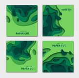 Banners set 3D abstract background, green paper cut shapes. Vector design layout for business presentations, flyers. Horizontal banners set 3D abstract Stock Illustration