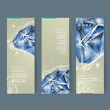 Banners set with diamond element Royalty Free Stock Photography